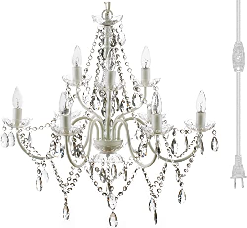 Plug-in 9 Light Crystal White Hanging Swag Chandelier H26 xW27