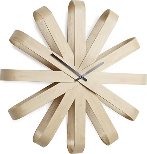 Umbra Ribbonwood Large Modern Wall Clock, Natural