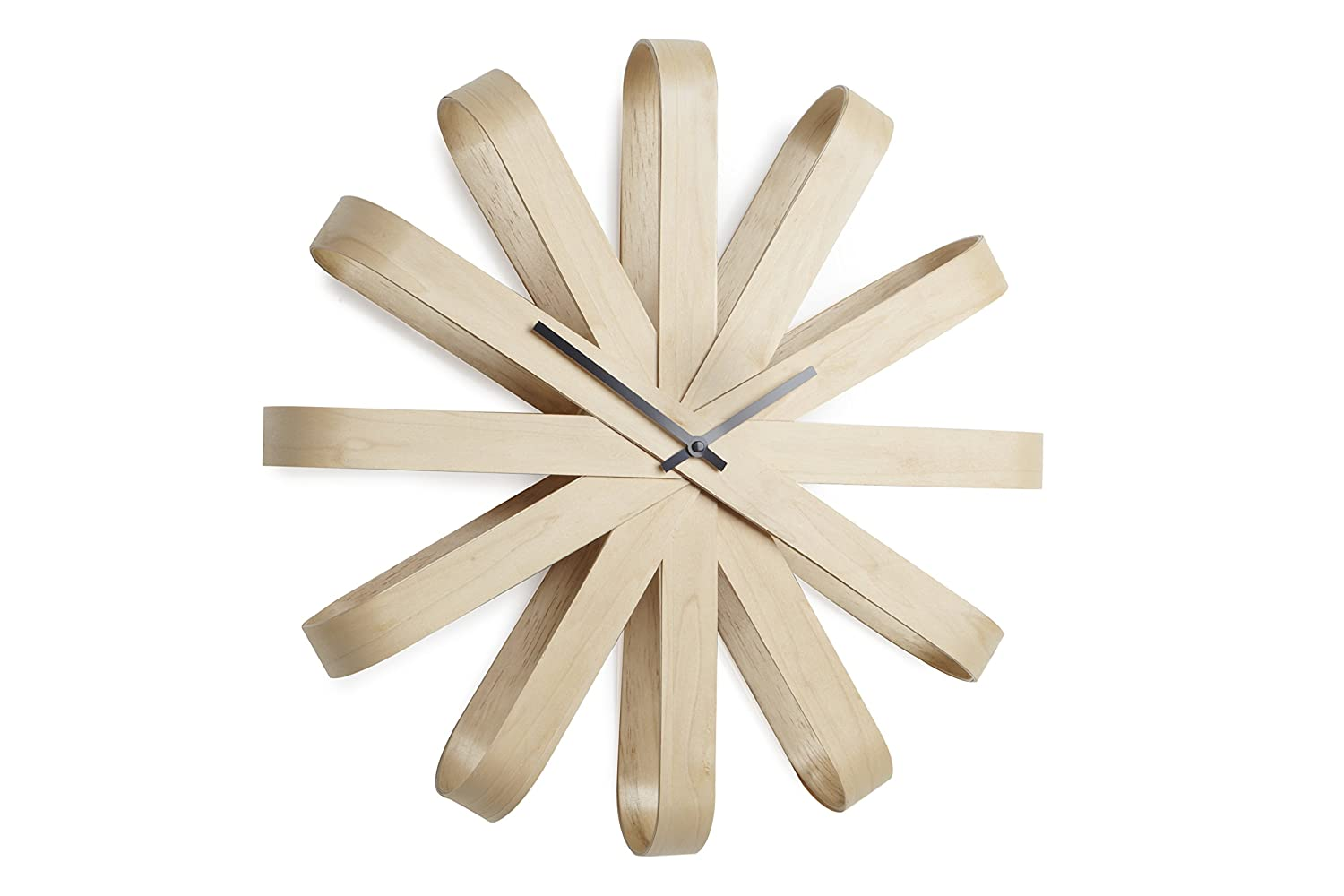 Amazon umbra ribbonwood wall clock home kitchen amipublicfo Image collections