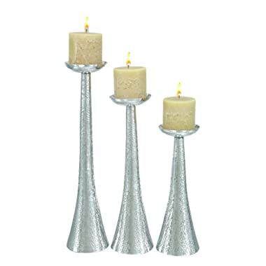 Deco 79 Aluminium Candle Holder, 23 by 20 by 16-Inch, Set of 3