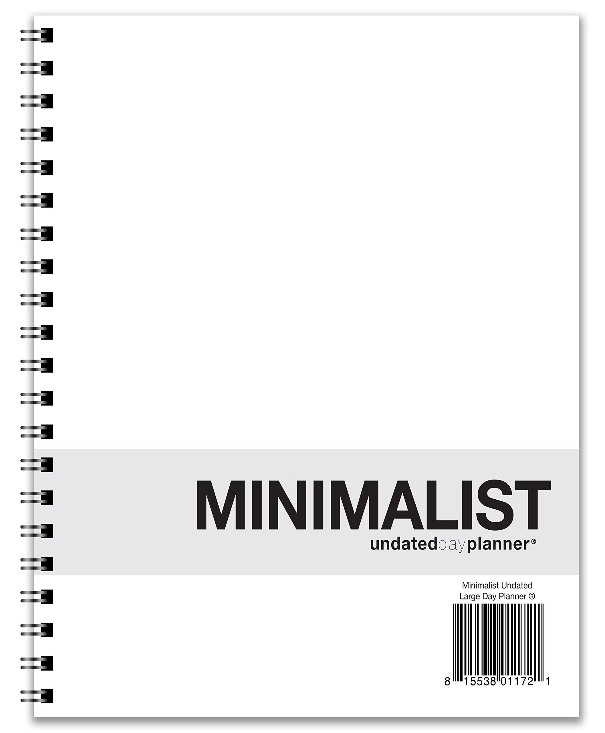 Action Publishing UNDATED Minimalist Day Planner (8.5'' X 11''), Wire Bound, Crisp White Archival Quality Paper