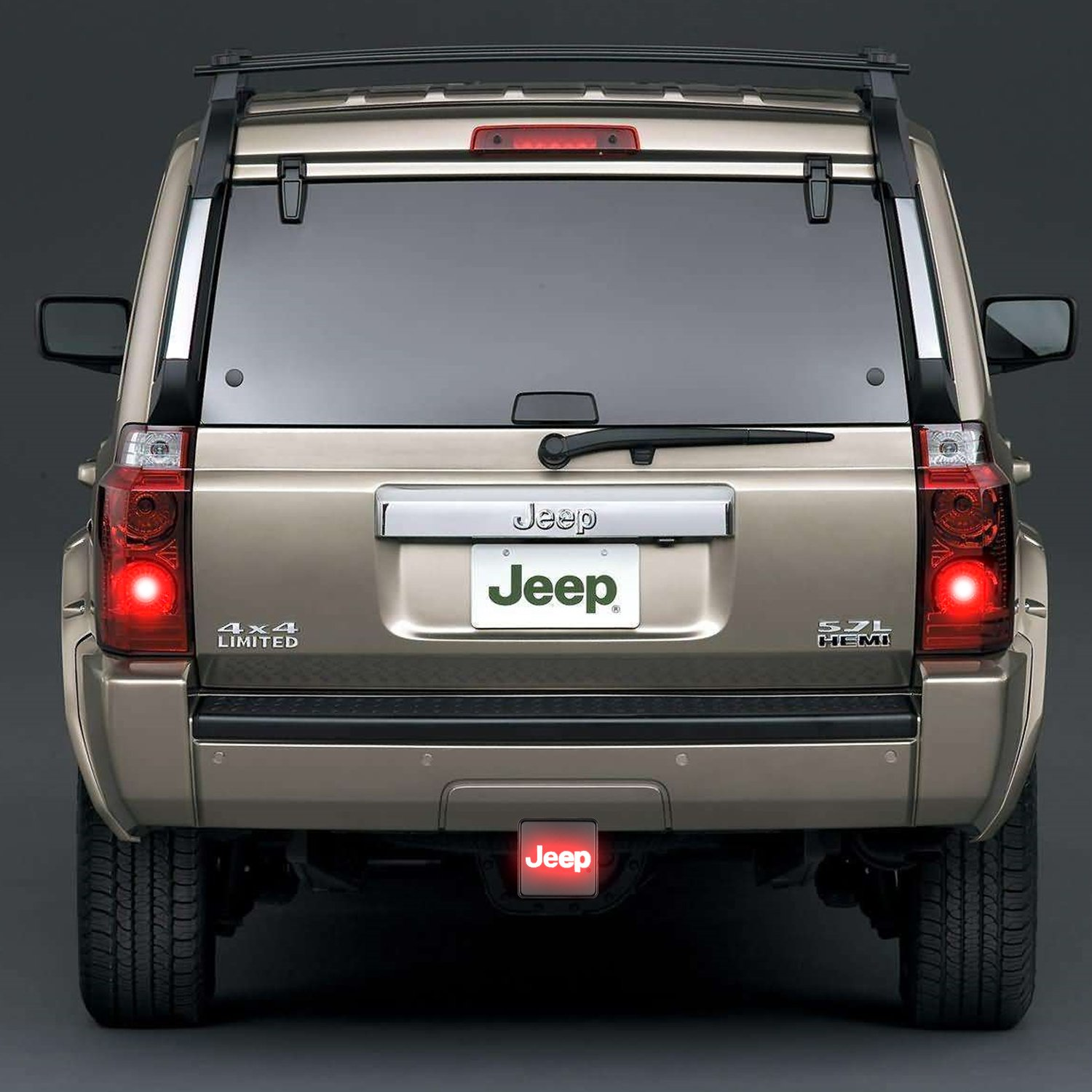 Bully Cr 007j Hitch Cover With Illuminated Jeep Logo Brake Light Wiring Black Square Automotive