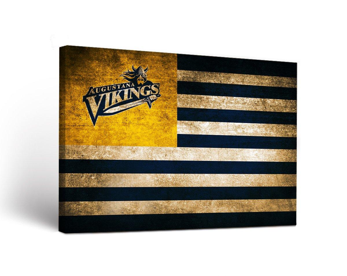 Augustana College Augie Vikings Canvas Wall Art Vintage Flag Design (36x48)