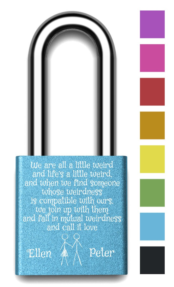 Customizable MakeLoveLocks - Mutual Weirdness Love Lock 2'' Blue by MakeLoveLocks