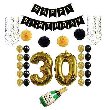 Amazon.com: dorado 30th Año Feliz cumpleaños globo de carta ...