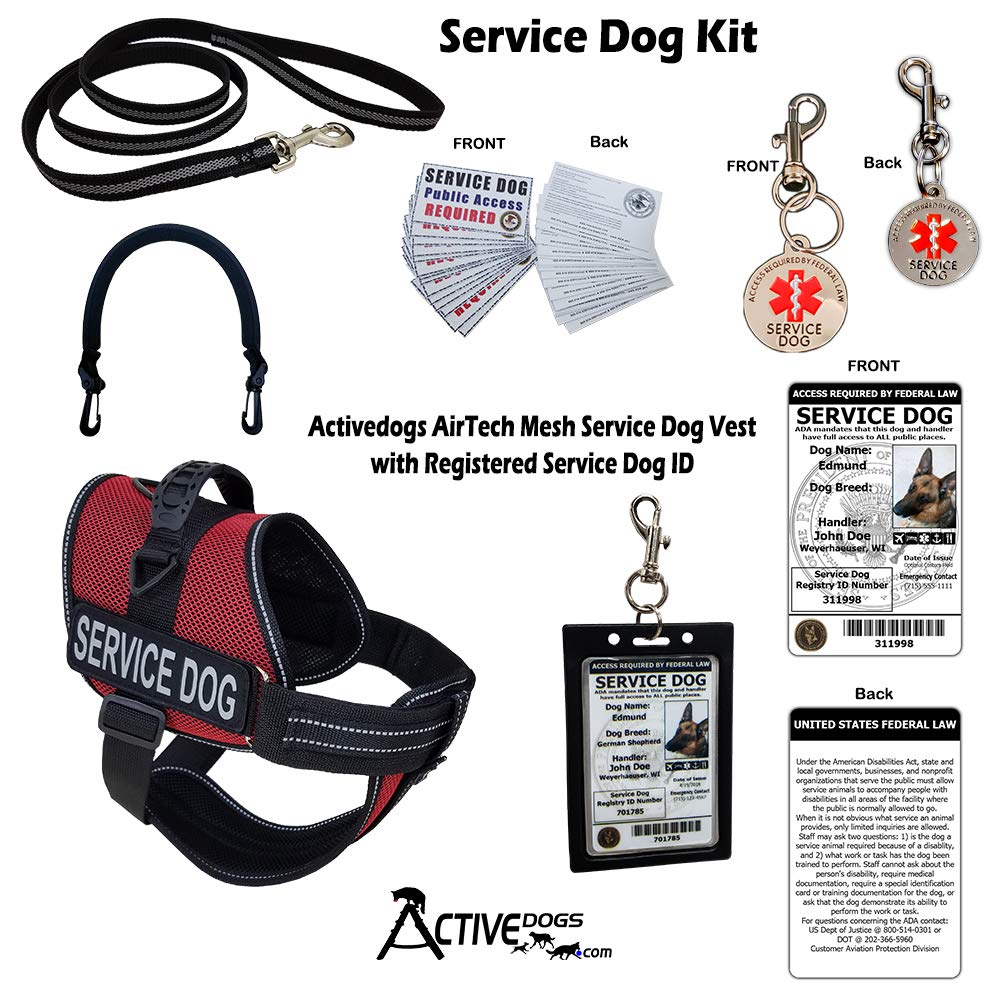 Activedogs Service Dog Kit Airtech Mesh Service Dog Vest Harness + Free Registered Service Dog ID + Clip-on Bridge Handle + 30 ADA/Federal Law Cards + Service Dog Travel Tag (XS - Girth 16''-20'', Red)