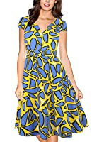 oxiuly Women's Retro V Neck Cap Sleeve 1950'S Cocktail Evening Swing Dress OX231
