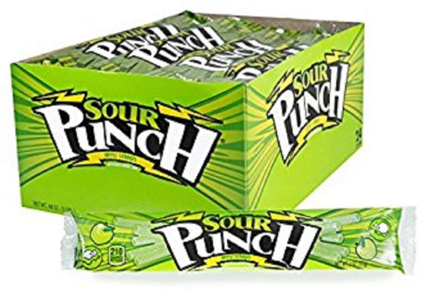 Sour Punch Straws, Sweet & Sour Apple Fruit Flavor, Soft Chewy Candy, 2oz Tray (24 Pack)