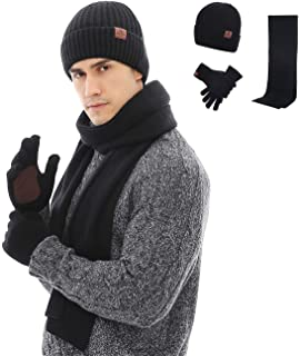 ae21b00f81c Maylisacc Winter 3Pcs in 1 Warm Thick Knit Beanie Hat Long Scarf and  Touchscreen Driving Gloves