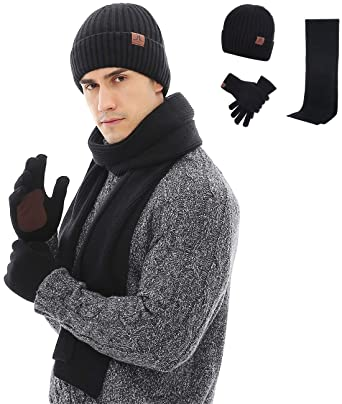 Maylisacc Mens Winter Hat + Scarf Glove and Touchscreen Gloves Set Knited  Christmas Gifts Black f437a238561