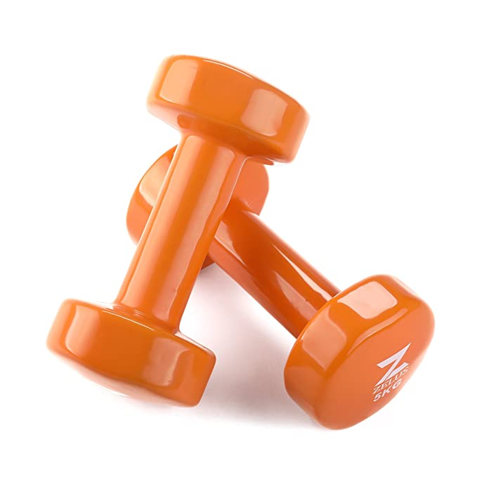 ZELUS Mancuernas de Hierro Fundido con Revestimiento de Vinilo para Entrenamiento Fitness (Juego de 2) Naranja 5kg: Amazon.es: Deportes y aire libre