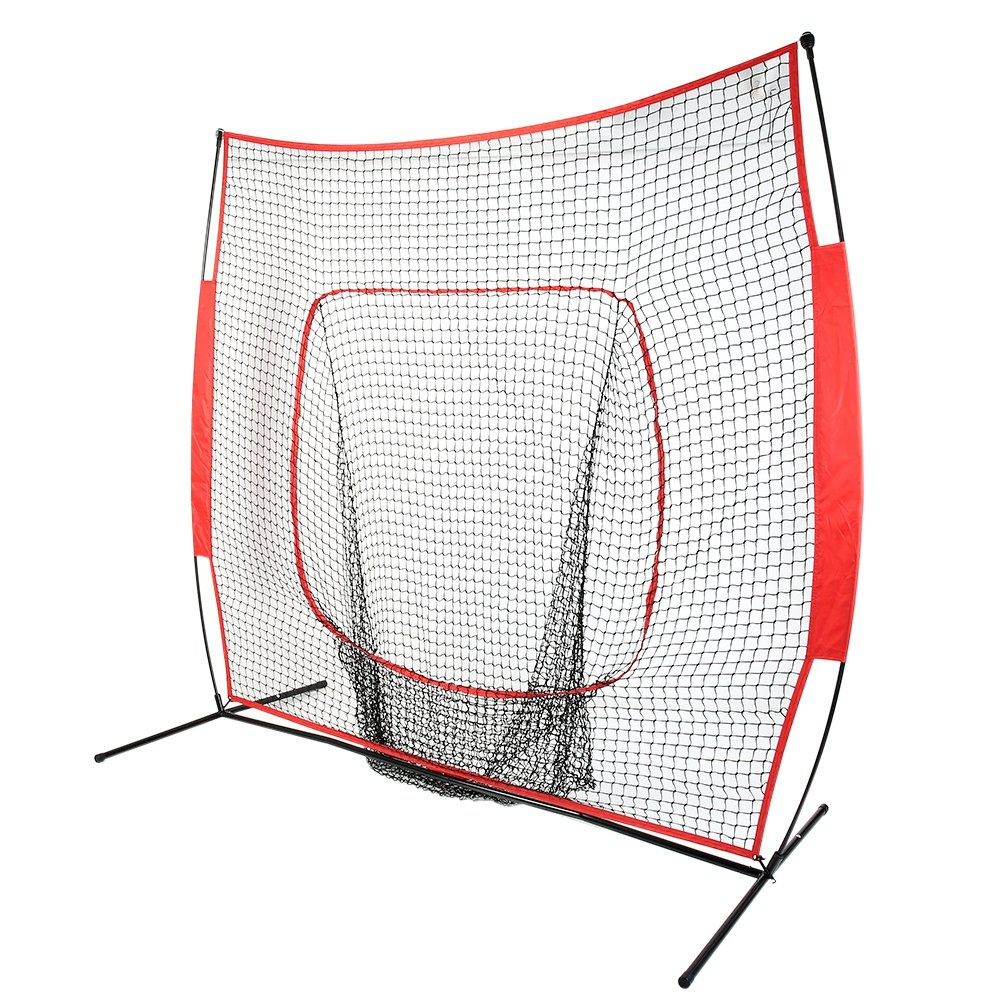 Baseball Net Teapround 7 x 7 Portable Practice Net for Batting Hitting Pitching Baseball Pitching Screen with Carry Bag