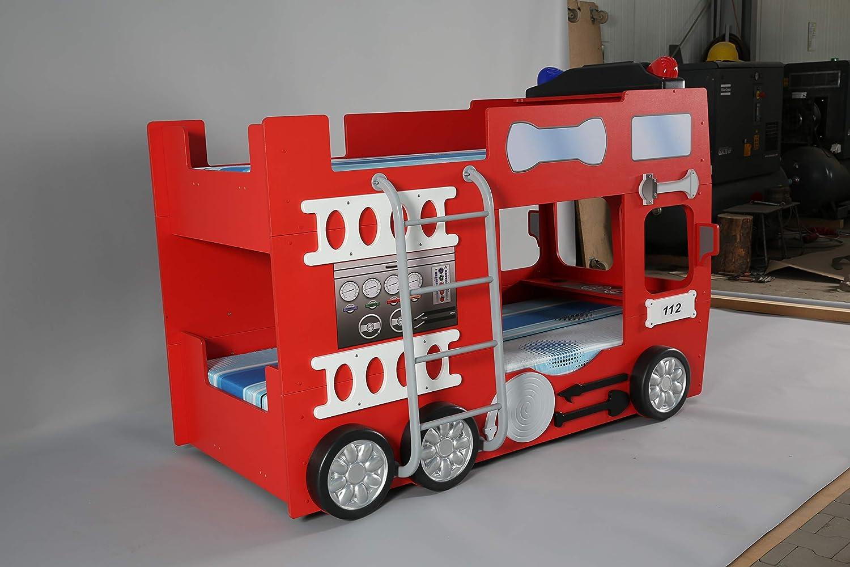Feuerwehrbett Doppelbett Etagenbett : Feuerwehrbett doppelbett inkl matratze rost amazon küche