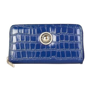 Porte monnaie compagnon VERSACE JEANS Croco Bleu  Amazon.fr ... df028e38360