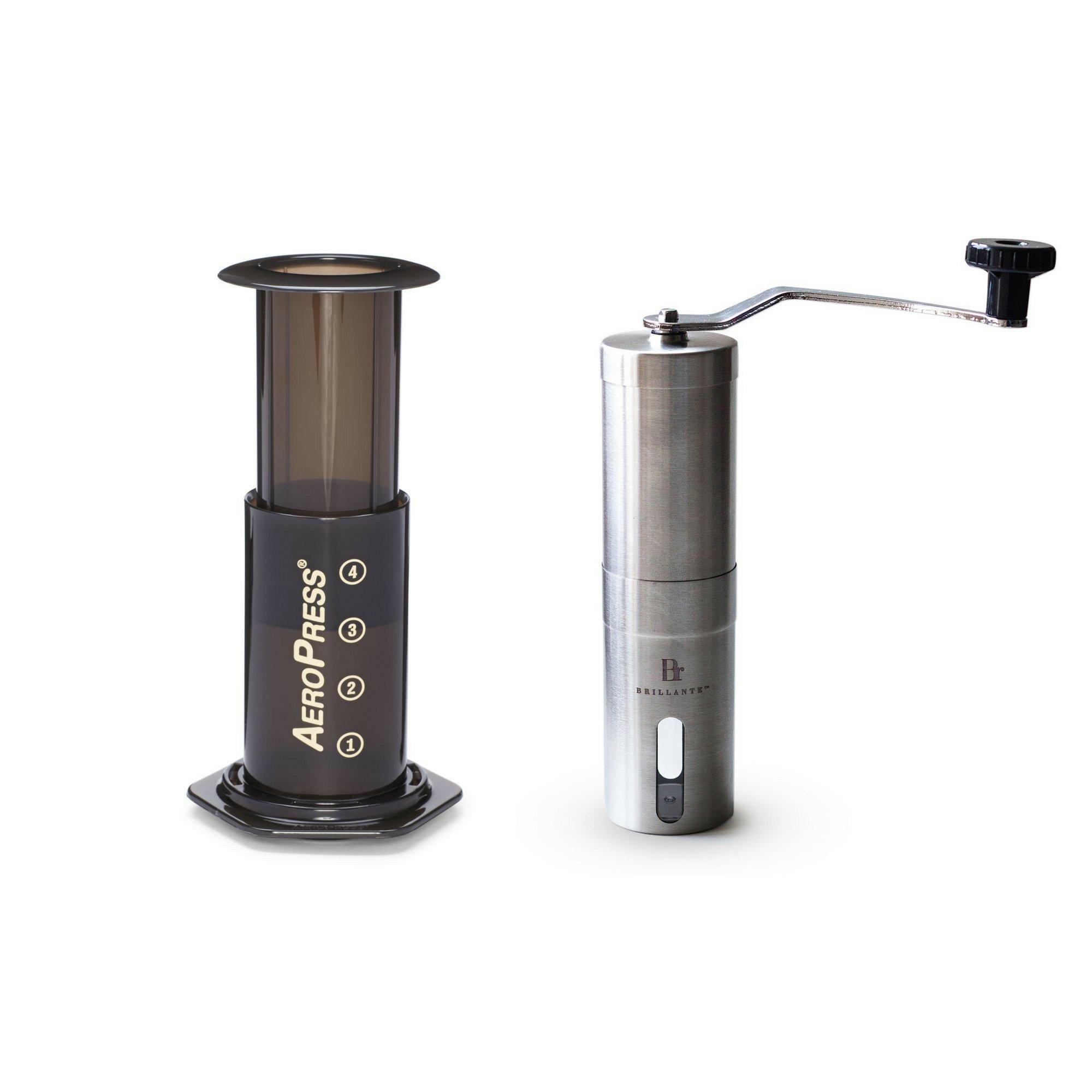 Aerobie AeroPress Coffee Maker with Brillante Manual Burr Coffee Grinder - Espresso Making Kit/Set