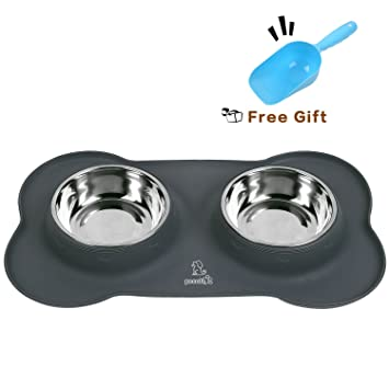 pet supplies pecute dog bowls stainless steel double dish set pet
