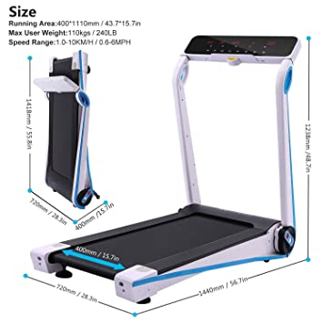 Aceshin Tapis De Course Electrique Pliable Machine Fitness Gym