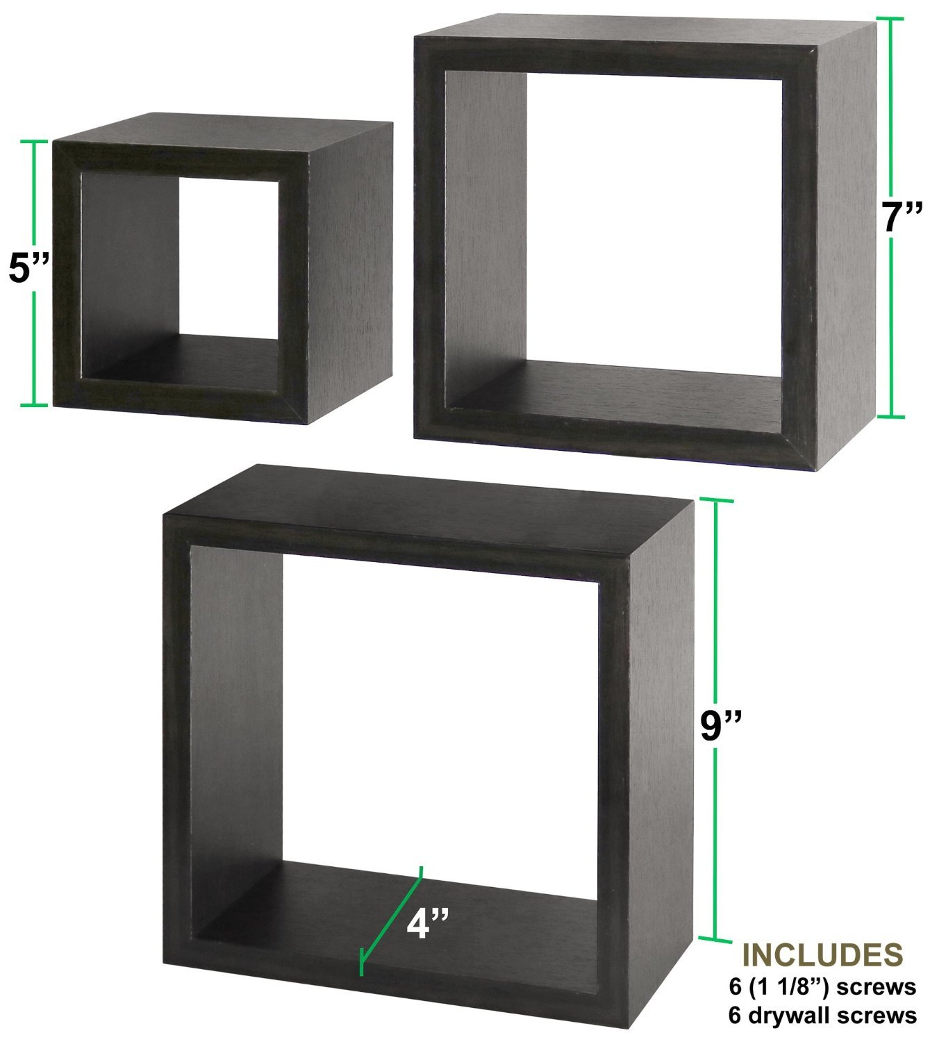 Greenco Set of 3 Floating Cube Shelves, Espresso Finish - Set of 3 size shelves Made of durable MDF laminate Beautiful espresso finish that suits almost any decor Easy to mount with all necessary hardware Included - wall-shelves, living-room-furniture, living-room - 71ERaDPNm5L -