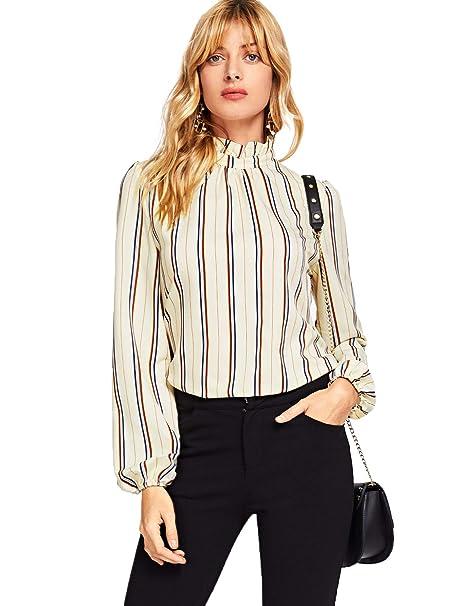 602f0b9806b95 Romwe Women's Elegant Printed Stand Collar Workwear Blouse Top Shirts  Apricot X-Small