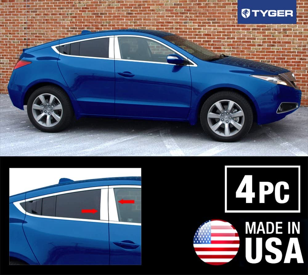 MAXMATE Made in USA Works with 2010-2015 Acura ZDX Stainless Steel Chrome Pillar Post Trim 4PC