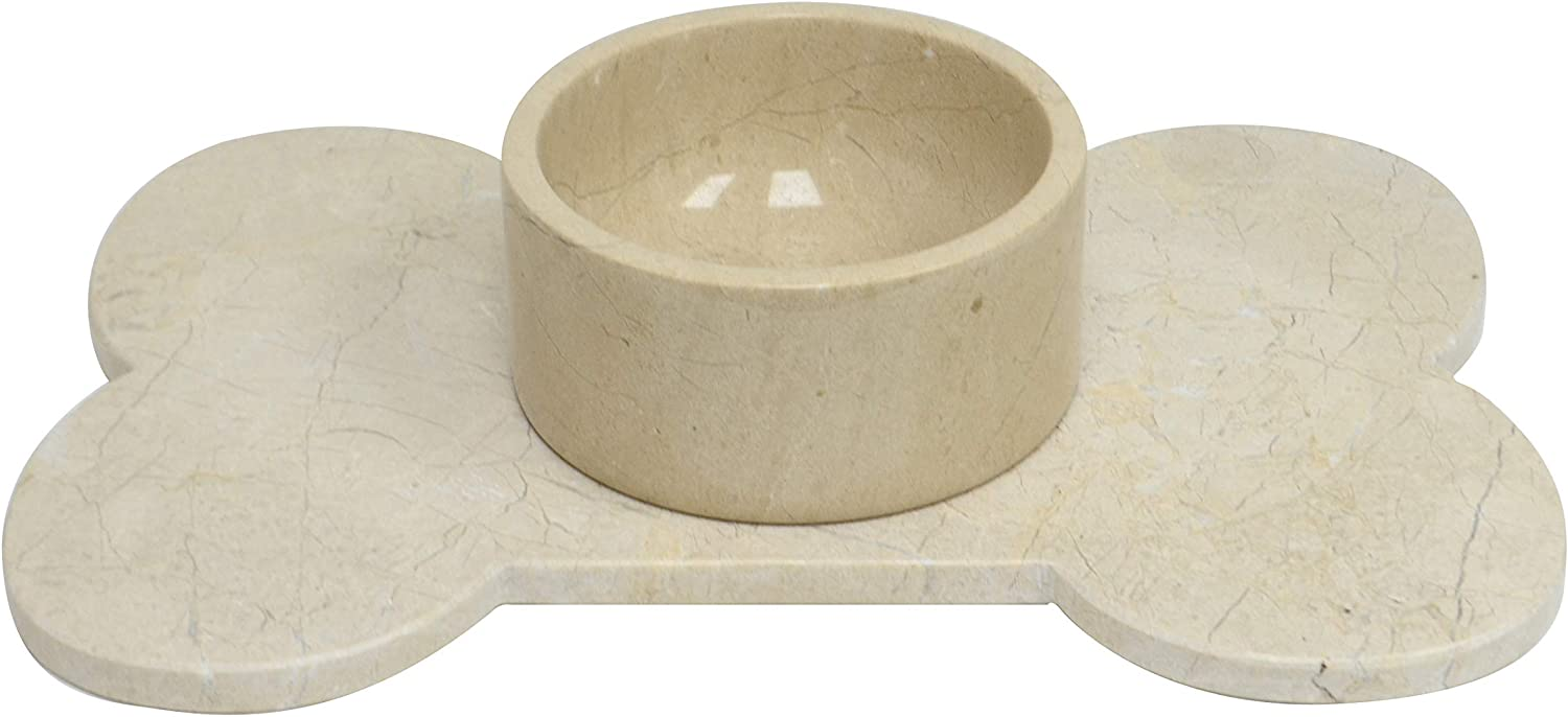 Polished Marble Food / Water Pet Bowl for Cats and Dogs, Desert Sand