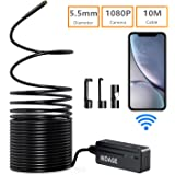 Wireless Endoscope, DEPSTECH WiFi Borescope Inspection Camera 2.0 Megapixels HD Snake Camera for Android and iOS Smartphone