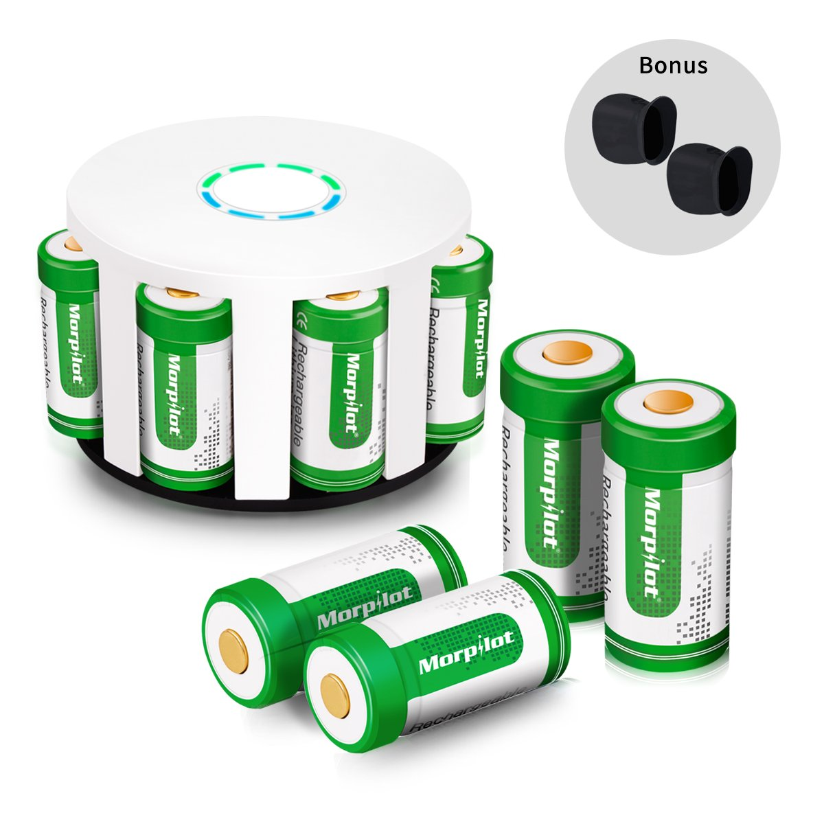 Morpilot RCR123A Rechargeable Batteries and Charger 8Pcs 3.7V 700mAh Li-ion Battery with 8-Ports Charger for Arlo VMC3030/3230/3330/3430/3530 Security Cameras