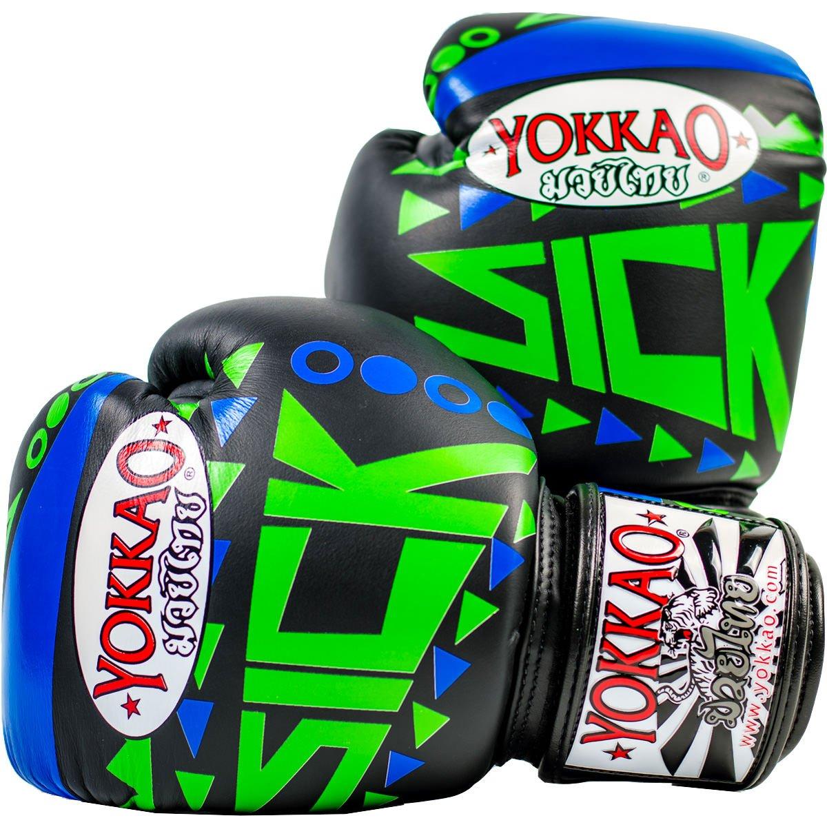 Yokkao Sickタイ式ボクシンググローブブルー/グリーン、キックボクシング、MMA、格闘技公式ストア 8oz ブラック B07BVMDV31
