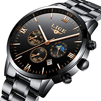 Men Watches Black Gold Fashion Business Casual Chronograph Wrist-Watches for Men Waterproof Quartz with
