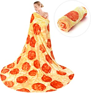 Denkee Pizza Blanket 2.0 Double Sided 71 inches for Adult and Kids, Giant Pizza Throw Blankets, Giant Funny Realistic Pizza Food Blanket Throw Wrap Blanket