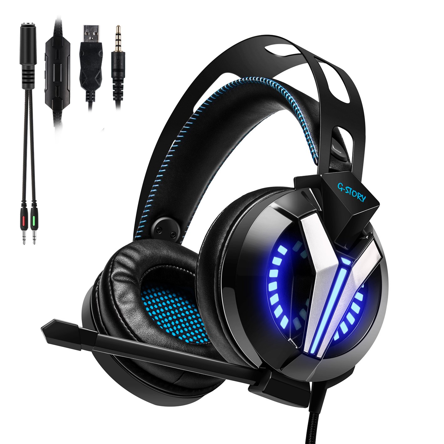 G-STORY Gaming Headset with Noise Cancelling Microphone, Volume Control Functions, LED Light and Bass Surround Stereo for PS4/PC Computer/Laptop/Mac/Mobil/iPhone/iPad GSH012