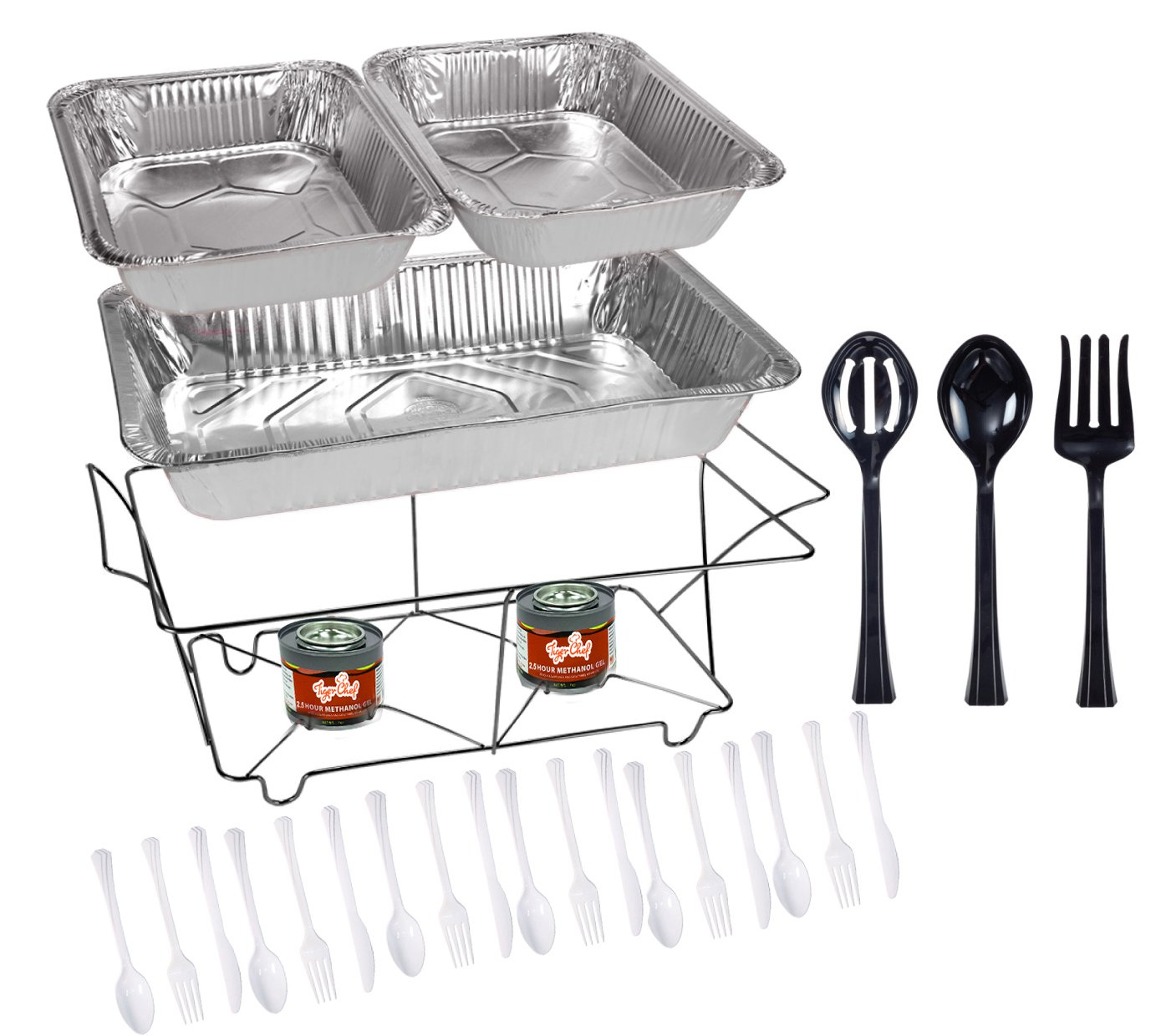 Tiger Chef 33-Piece Black Food Warmer Chafing Dish Buffet Set, Disposable Chafing Dishes with Colorful Baking Pans, Fuel Gel, Serving Utensils and Plastic Cutlery chafing dish rack