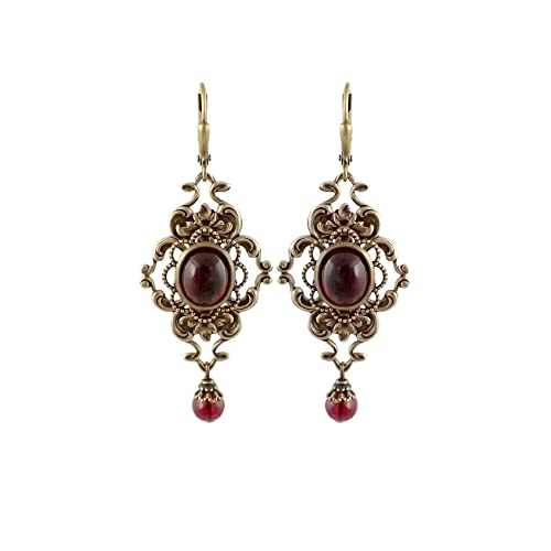 09f98d1b1 Image Unavailable. Image not available for. Color: Victorian Style Deep Red  Antiqued Brass Filigree Earrings with Swarovski Crystal ...