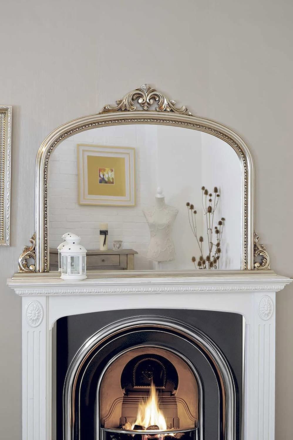ornate fireplace heads horses above stone in on room s horse photos with large mantelpiece living photo stock circular antique neutral mirror
