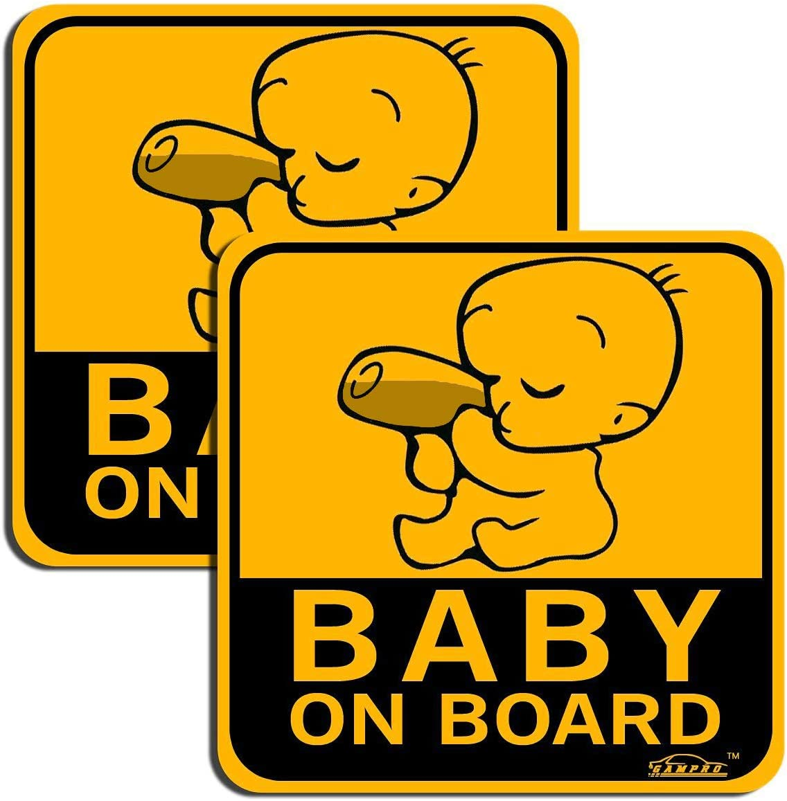 GAMPRO Lovely BABY ON BOARD Reflective Vehicle Bumper Magnet 2-Pack Reflective Vehicle Car Sign Sticker Bumper for New Parents Reduce Road Rage and Accidents for New Parent and Child /¡/