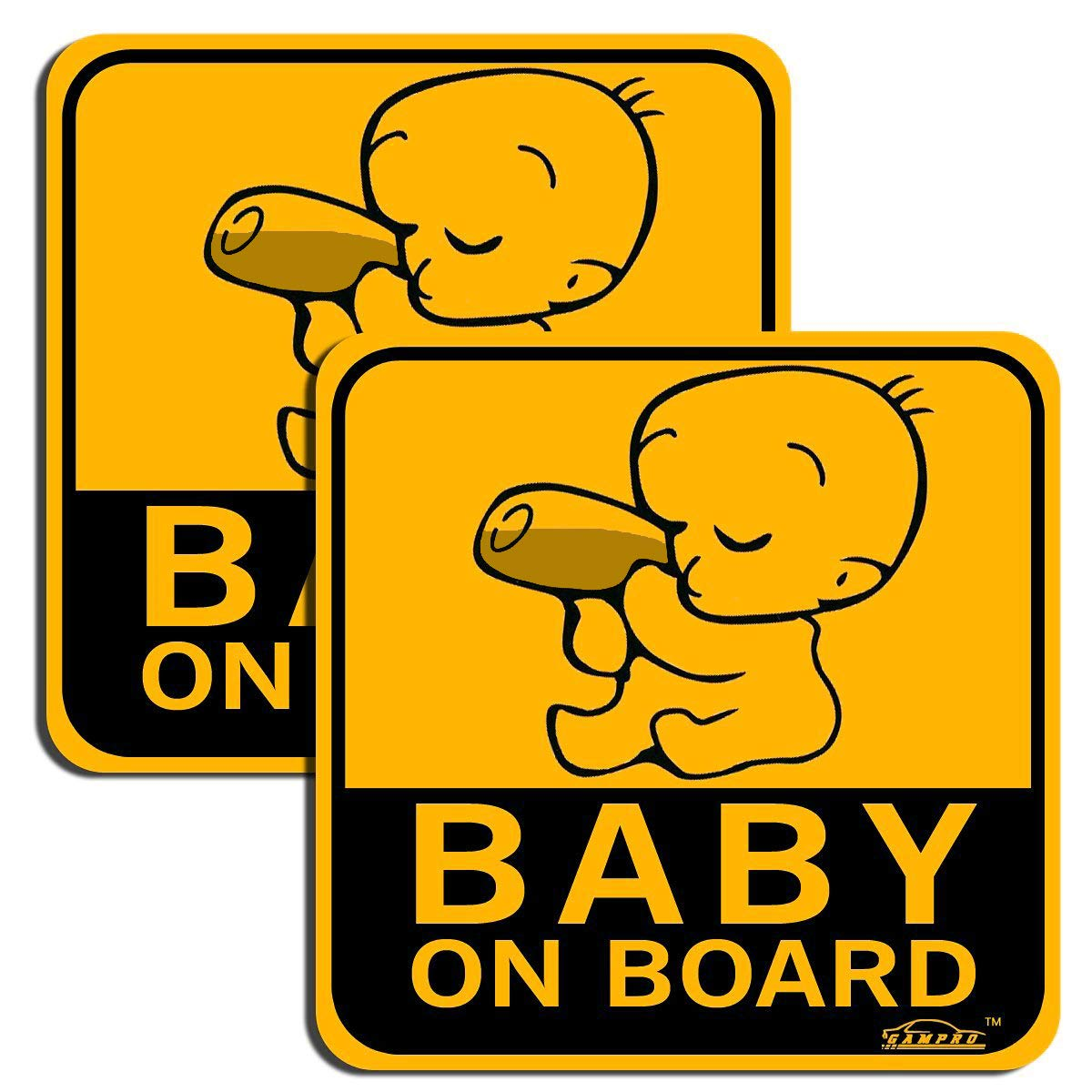 Reflective Vehicle Car Sign Sticker Bumper for New Parents Reduce Road Rage and Accidents for New Parent and Child /¡/­ GAMPRO Lovely BABY ON BOARD Reflective Vehicle Bumper Magnet 2-Pack