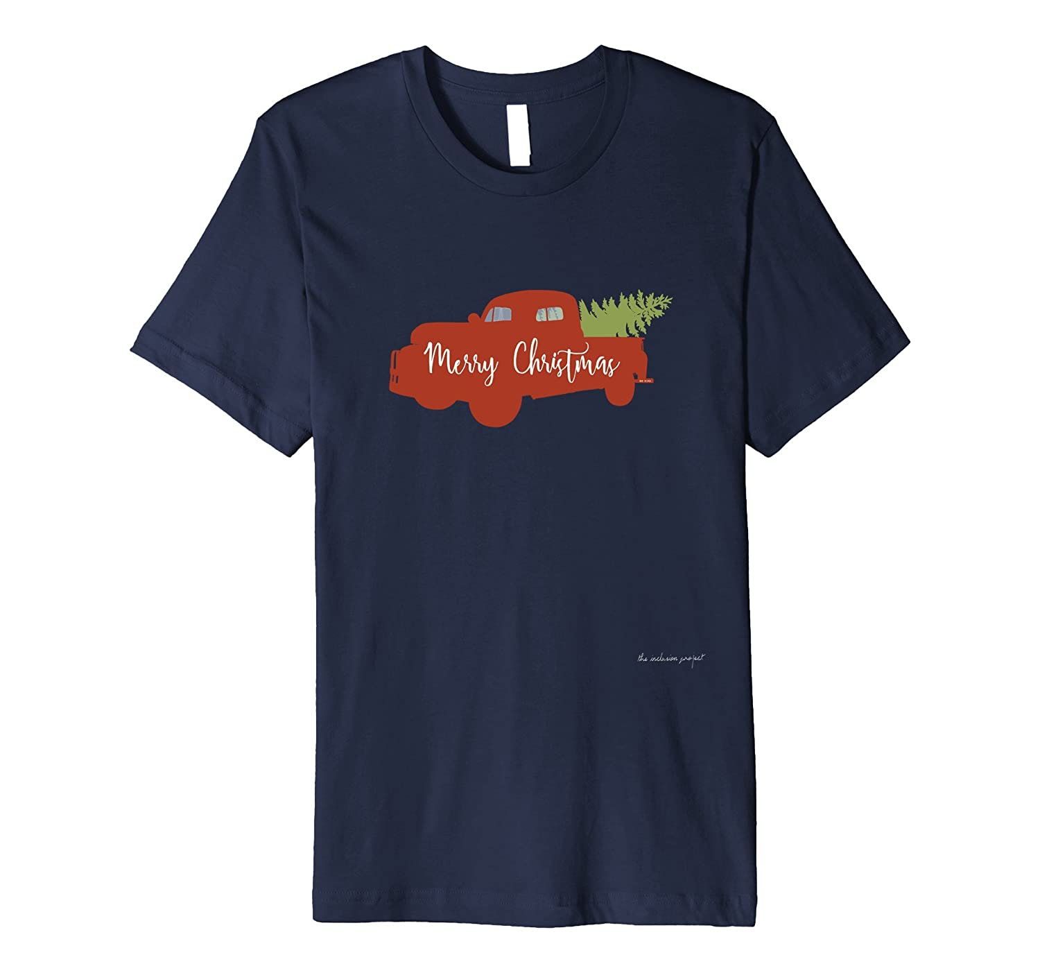 Merry Christmas Signed Red Holiday Truck with Tree T-Shirt-ANZ