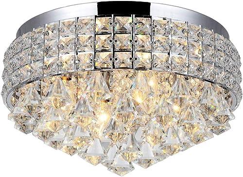 Diamond Life 4-Light Silver Finish Metal Shade Flushmount Crystal Chandelier Ceiling Fixture