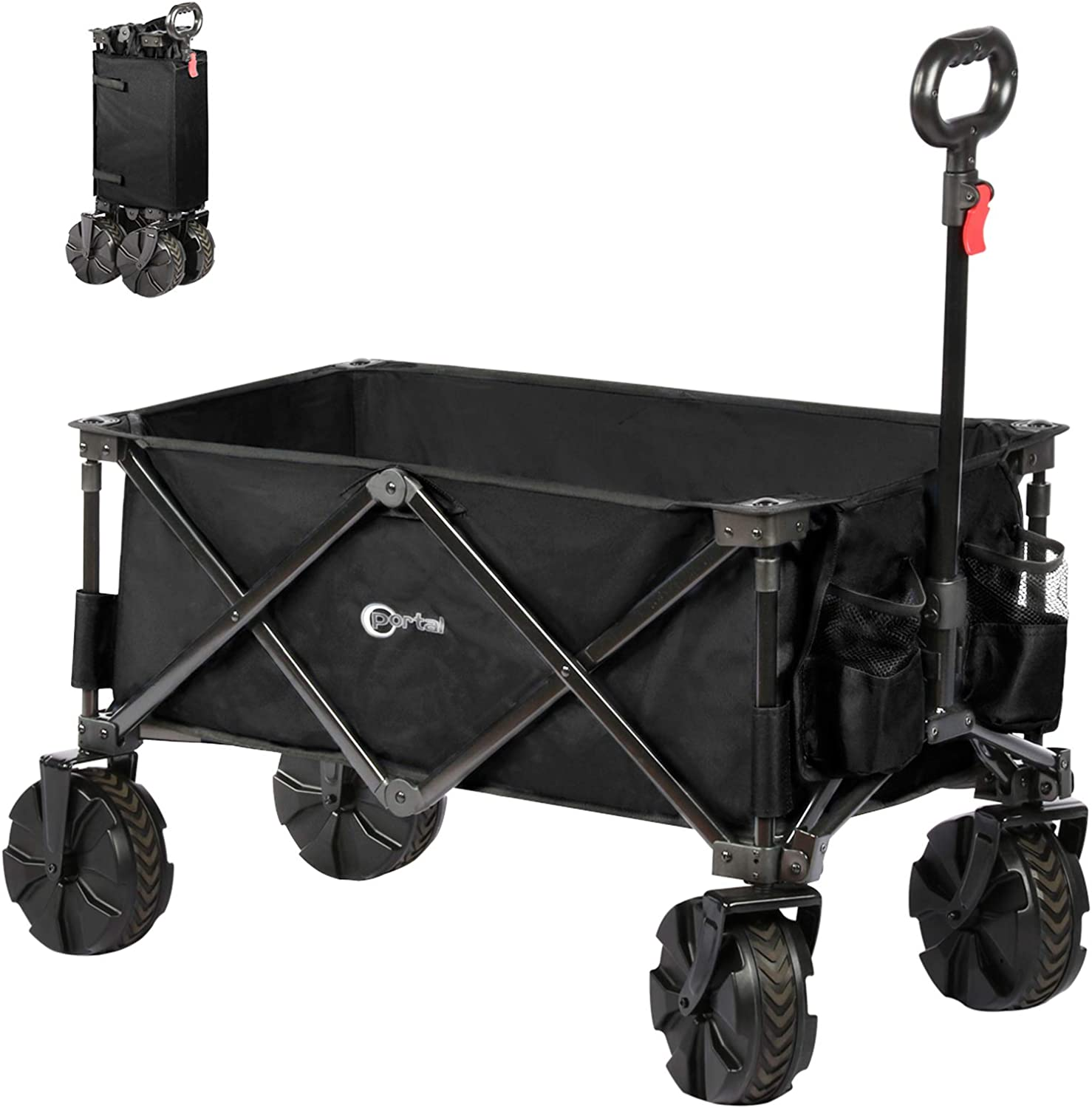Portal Collapsible Folding Utility Wagon Camping Cart for Garden Park Picnic with 8