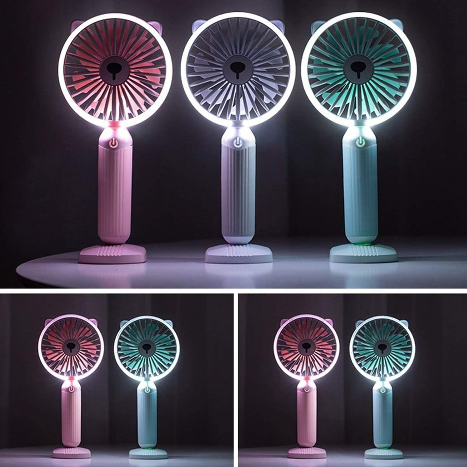 Mini Portable Cooling Fan USB Fan LED Night Light Portable Handheld Fan 7 Blades 3 Gear Wind Speed Summer Cooling Fan Bedside Color : Green