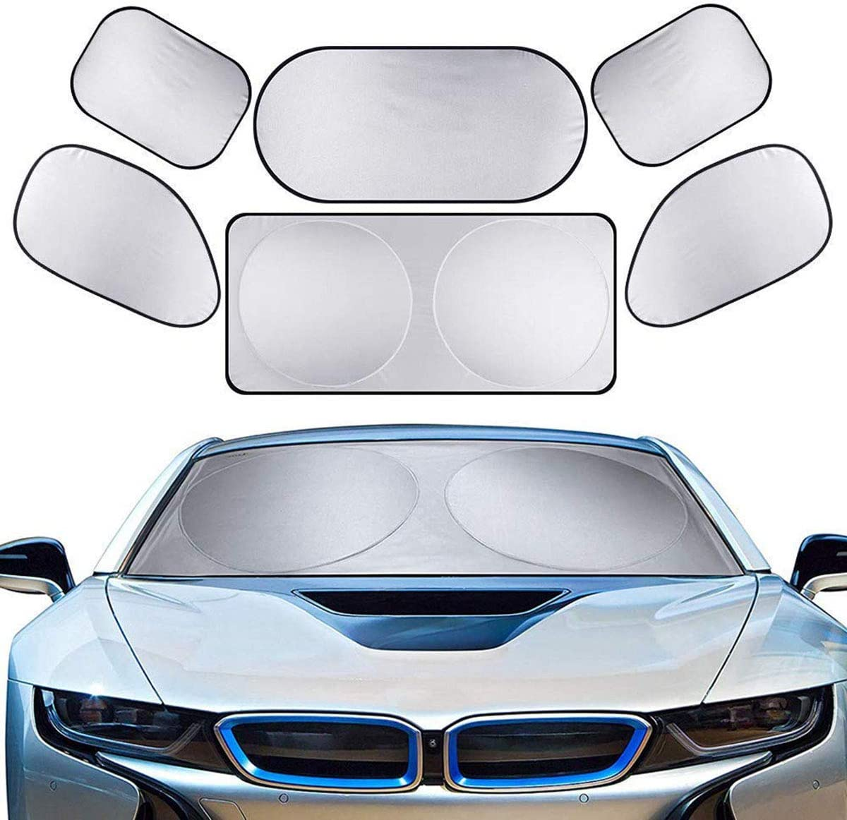 Fits Windshields of Various Sizes 6PCS Silver Coating Full Car Auto Windshield Sun Shade Sun Block UV Protection Cover Keep Vehicle Cool Eurobuy Car Windshield Sun Shade Easy to Use