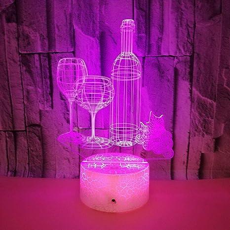 3D LED de luz de la noche de 7 cambio de Color de dormir del ...