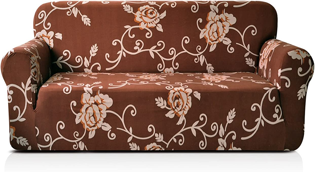CHUN YI 1-Piece Stylish Printed Polyester Spandex Fabric Sofa Slipcover Soft Elastic Couch Cover Furniture Protector for 3 Seats Sofa (Sofa, Coffee Rose)