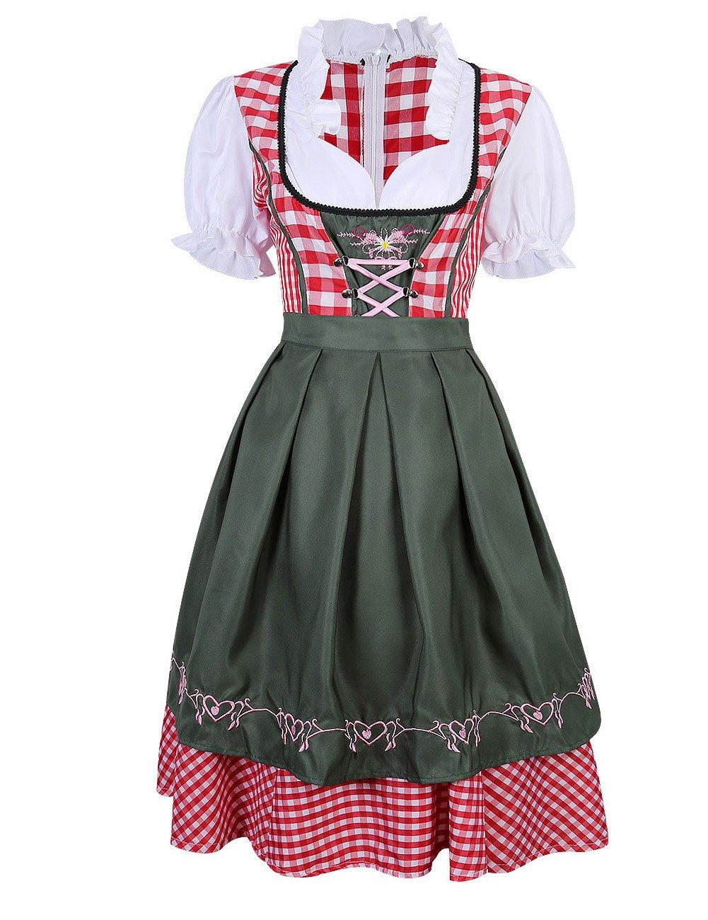 3901e4d695e432 Damen Dirndl Trachtenkleid, Set Karierte Dirndlbluse Stehkeragen Vintage  Oktoberfest Bavarian Couture 2 Teilig Grün xl: Amazon.de: Küche & Haushalt