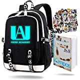 My Hero Academia Luminous Backpack with USB Charging Port Unisex Fashion Travel Backpack BNHA Notebook Izuku Journal Notebook