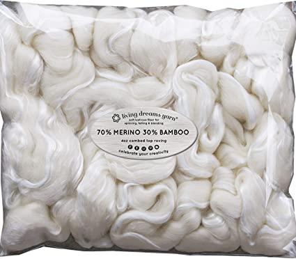 On The Other Side Wet Felting Paper Making and Embellishments Soap Making Silk Merino Fiber for Spinning Nuno Felting Super Soft Combed Top Wool Roving for Hand Spinning Needle Felting