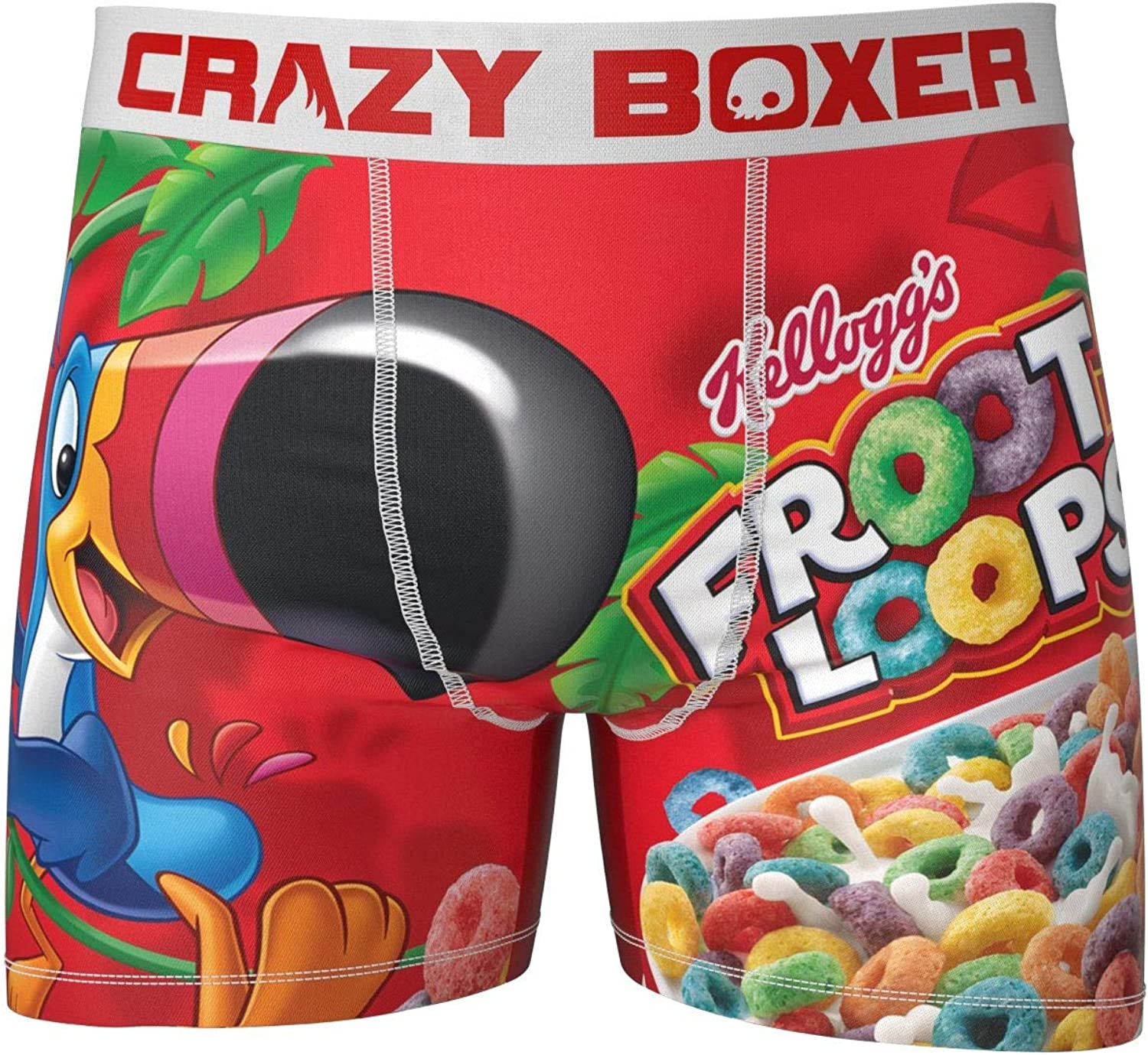 Kalan LP Mens Crazy Boxers Froot Loops Red//White Boxer Briefs