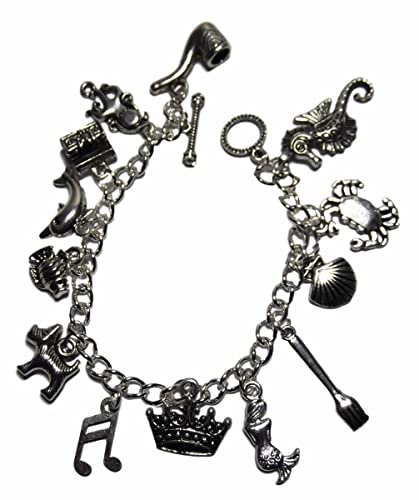 2ef9b8eb8 Image Unavailable. Image not available for. Color: Disney's The Little  Mermaid 13 Themed Charms Metal Charm Bracelet