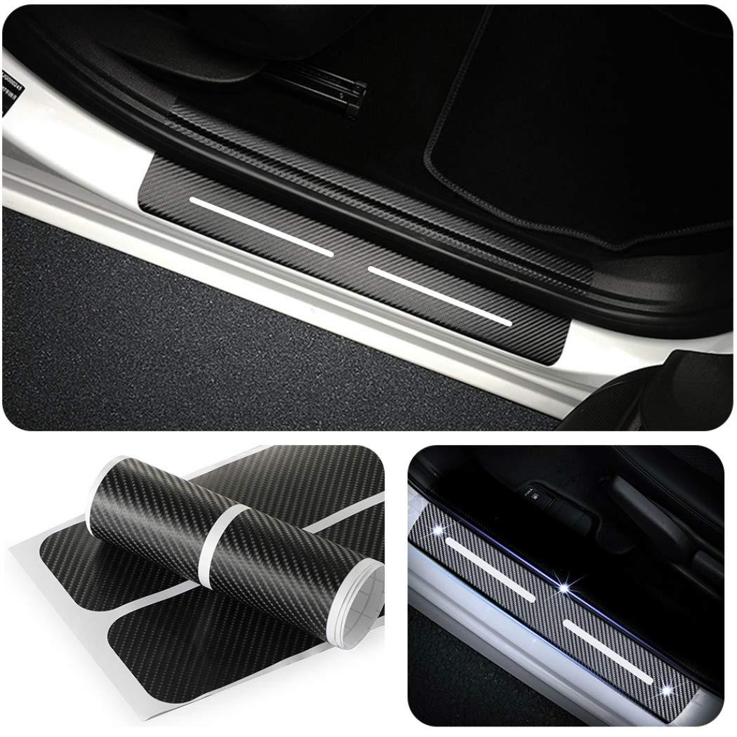 For Nissan Rogue Kicks Juke Door Sill Scuff Guard Carbon Fibre Protection Sticker Anti-Kick 4PCS Blue