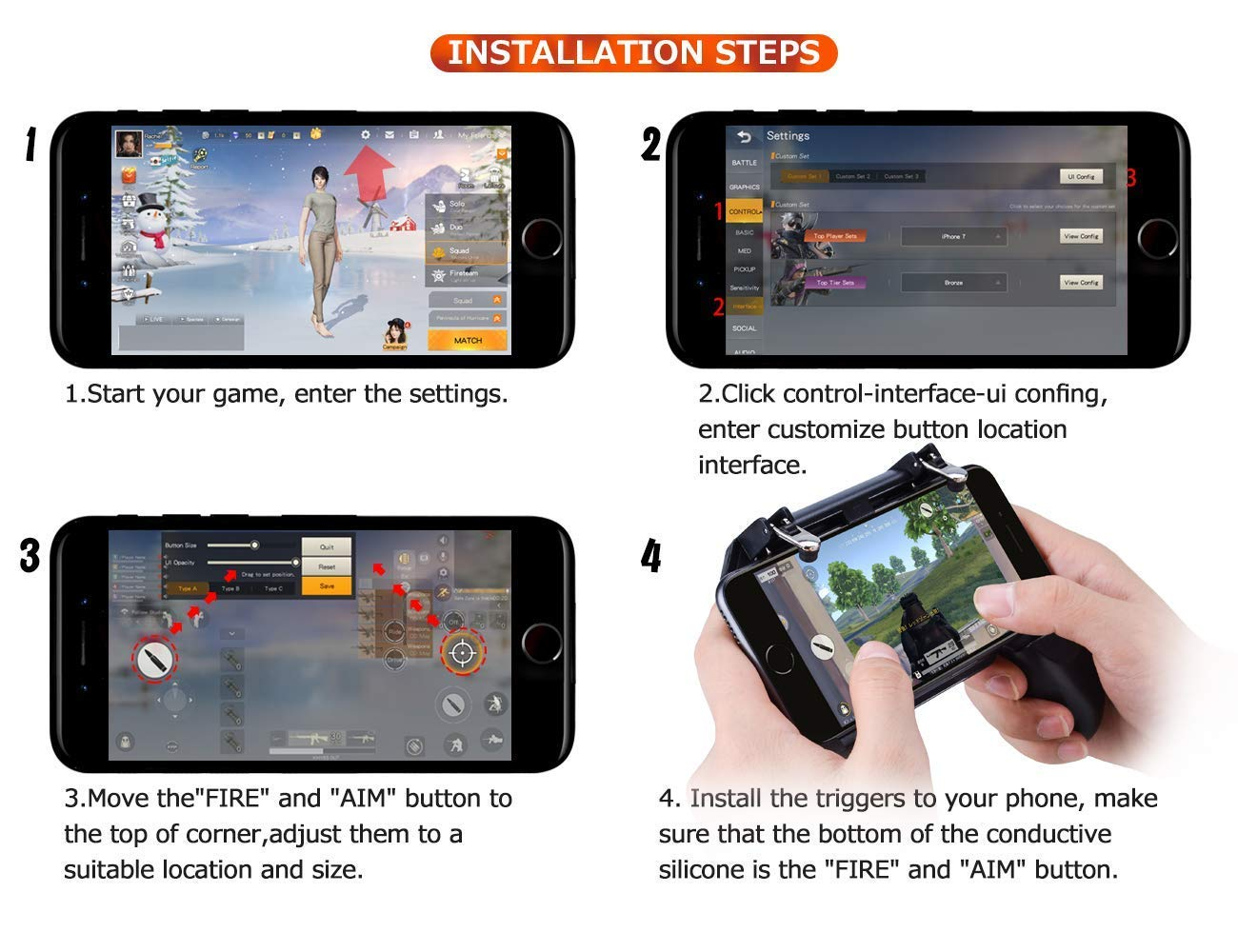 Details about Fiyapoo Mobile Game Controller for PUBG/Fortnite, L1R1  Trigger Gamepad